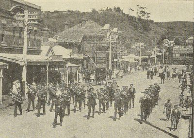 1921 The Burnie Band (Winners of Test Selection and Second in Quickstep) Marching through one of the main streets in Burnie